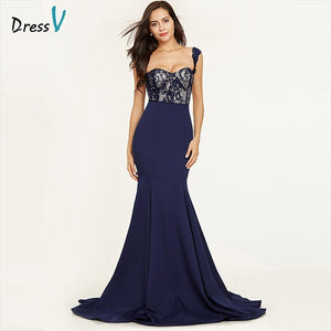 Dressv dark royal blue straps sexy evening dress sleeveless mermaid sweep train wedding party formal dress lace evening dresses