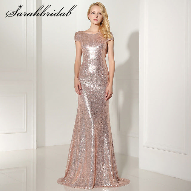 Sexy Backless Rose Gold Sequined Evening Dresses 2017 New Arrival Mermaid Long Cheap Party Gown Vestido De Festa Longo SD347