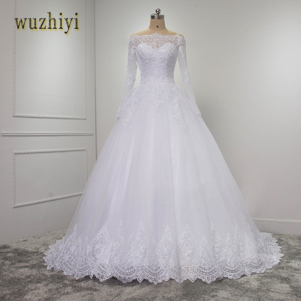 wuzhiyi vestidos de novia Lace Ball gown Long Sleeves wedding dresses 2017 casamento Lace beading Wedding gowns Plus size dress