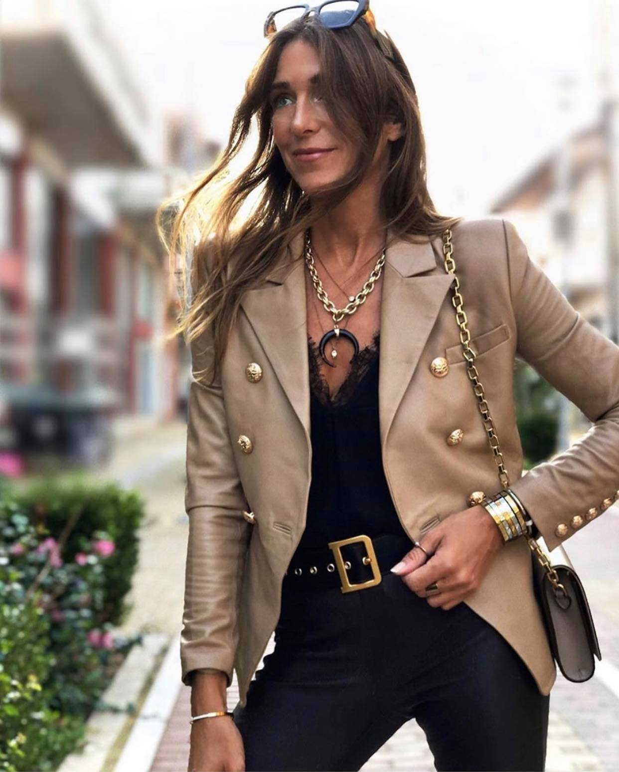 Bella Jacket Nude Leather