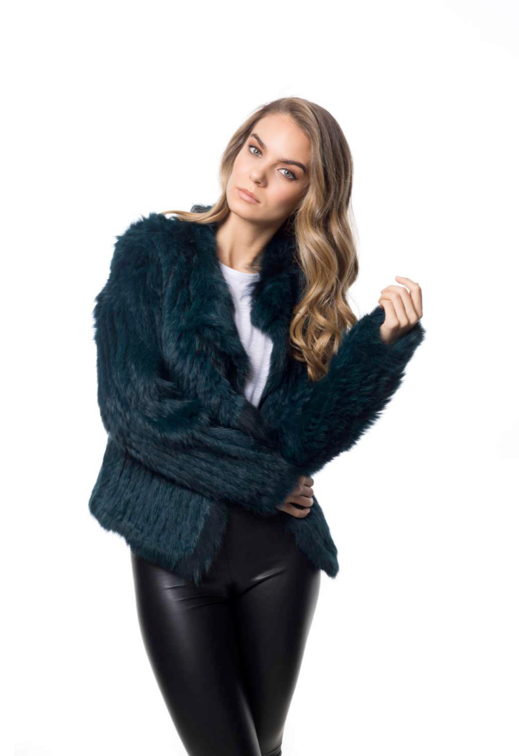 Ariana Fur Jacket - Emerald