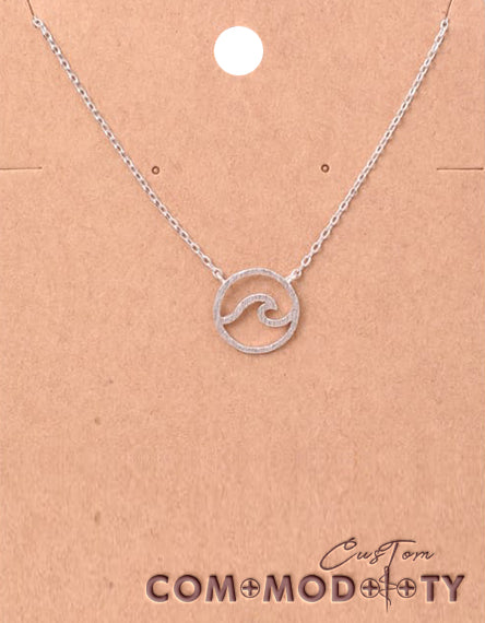 Wave Cutout Coin Pendant Necklace. - Custom Commodity
