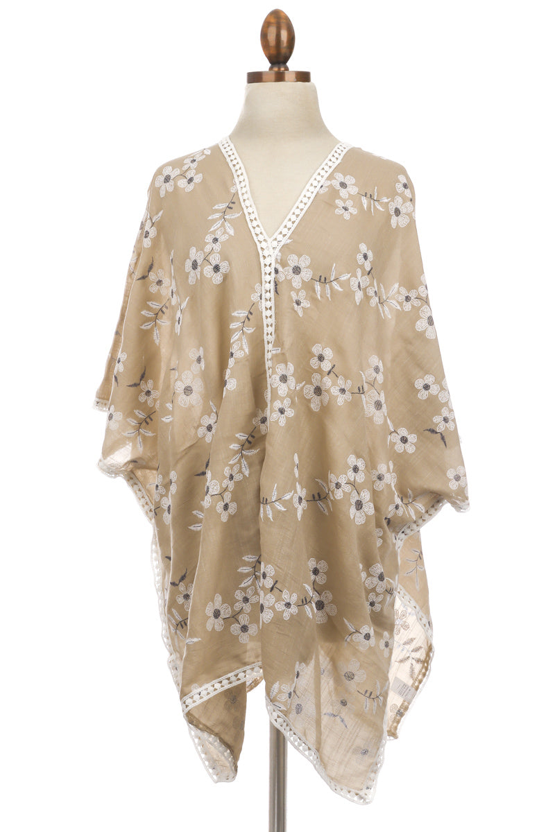 Lightweight Flower Embroidered Poncho - Custom Commodity