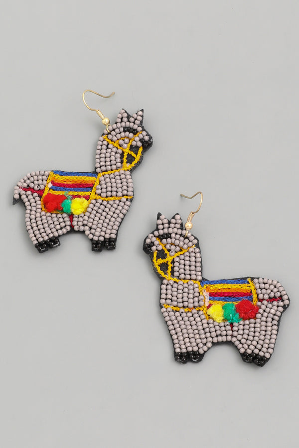 Beaded Llama Drop Earrings - Custom Commodity