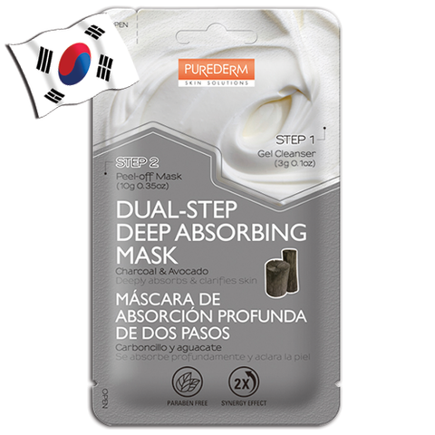 PUREDERM Dual-Step Deep Absorbing Charcoal & Avocado Face Mask