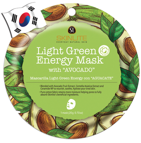 SKINLITE Intense Light Green Energy Face Mask with Avocado (Circle Shape)