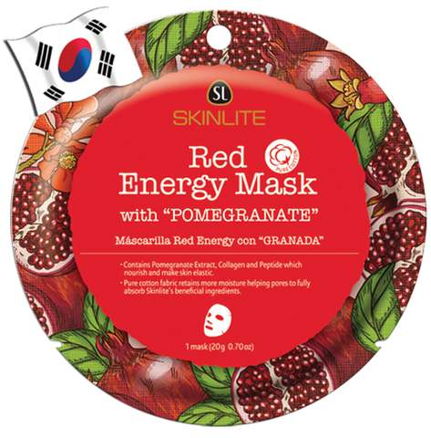 SKINLITE Intense Red Energy Face Mask with Pomegranate (Circle Shape) - Yes! You Beauty