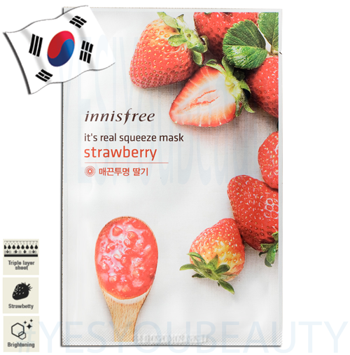 INNISFREE It's real squeeze mask-strawberry 1sheet/20ml [Expired 23/11/2018]