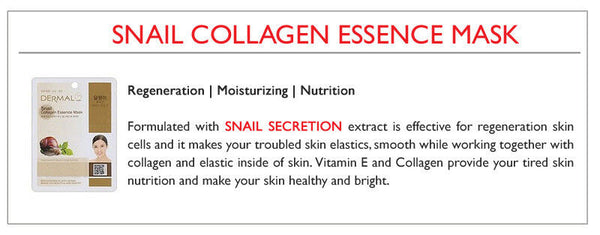 DERMAL Snail Collagen Essence Face Mask - Yes! You Beauty