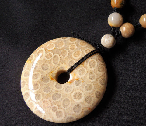 Fossil Coral Jade Cabochon Pendant Beads Necklace Indonesia Gemstone