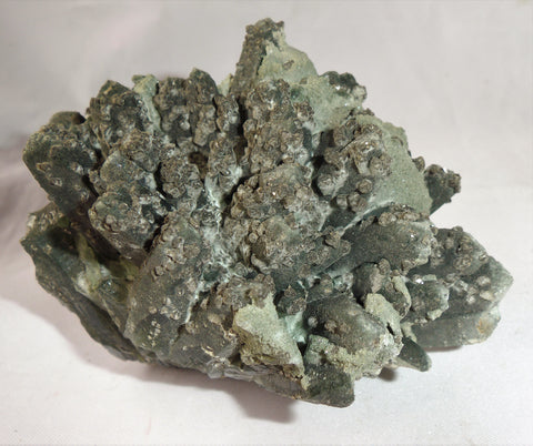 Hedenbergite Green Quartz crystal cluster specimen with pyrite from Mongolia