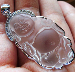 Clear Quartz Celestial Laughing Buddha Crystal Amulet Steel Pendant - PEN10110