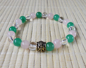 Green Aventurine, Rose Quartz, Clear Quartz Stone of Wealth, Love, Affinity, Fertility, Protection Crystal Beads Bracelet