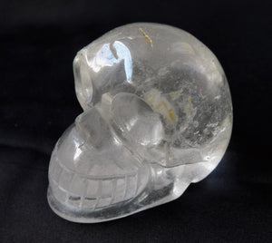 Clear White Quartz Stone Crystal Skull Hand Carved Sculpture CQ10107