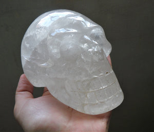 Big Clear White Quartz Stone Crystal Skull Hand Carved Sculpture CQ10166