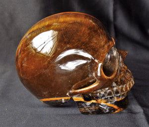 Big Realistic Flashy Tiger Eye Stone Crystal Skull Sculpture TE10117 Free Shipping!