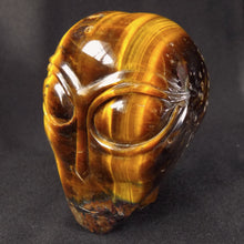 Realistic Flashy Tiger Eye Stone Crystal Alien Skull Sculpture TE10118 Free Shipping!