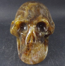 Brown Red Aragonite Stone Crystal Skull Hand Carved Sculpture AR10101