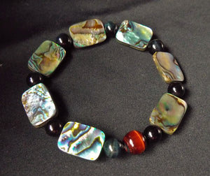 Rainbow Paua Abalone Shell and Red Blue Tiger Eye Crystal Beads Stretchable Bracelet