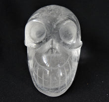 Clear White Quartz Stone Crystal Skull Hand Carved Sculpture CQ10172