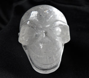 Clear White Quartz Stone Crystal Skull Hand Carved Sculpture CQ10176