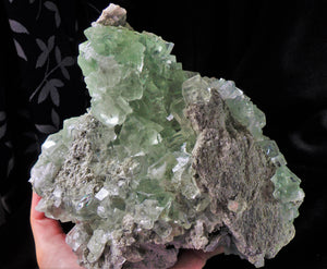Large Perfect Glassy Gemmy Green Fluorite Cube Ladder Crystals Mineral Specimen
