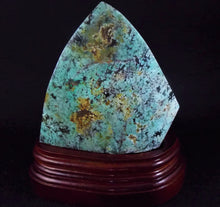 Rare Large Chinese Turquoise Polished Crystal Stone with display stand
