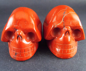 Twin Red Jasper Stone Crystal Skull Hand Carved Sculptures