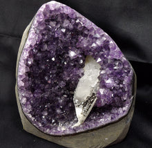 Brazil Amethyst with White Calcite Geothite Quartz Crystal Geode Mineral Specimen W/ Display Stand