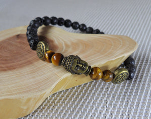 Gold Tiger Eye and Lava Stone Buddha Head Crystal Beads Stretchable Bracelet BRAC10102