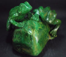 Large African Jade Green Garnet Hand Carved Frogs Crystal Stone Sculpture