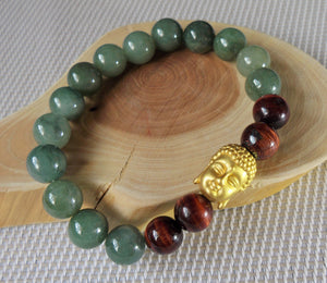 Natural A Grade Jadeite Jade Red Tiger Eye 24K Gold Buddha Head Unisex Bead Bracelet JD10188