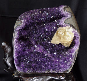 Top Uruguay Amethyst with Calcite Inclusion Crystal Geode Mineral Specimen W/ Display Stand AM10198