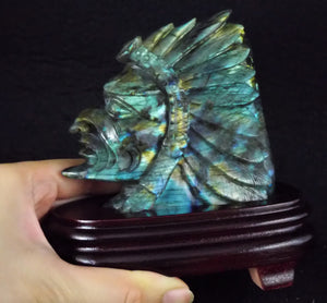 Rainbow Labradorite Indian Head Hand Carved Crystal Stone Sculpture W/ Stand