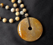 Sea Fossil Coral Jade Indonesia Crystal Stone Pendant with Beads Necklace - CJ10117