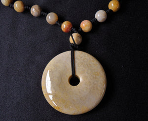 Sea Fossil Coral Jade Indonesia Crystal Stone Pendant with Beads Necklace - CJ10118