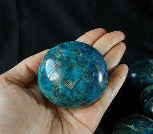 Top Blue Apatite Polished Tumble Mineral Crystal Reiki Chakra Healing Palm Stone