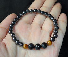 Hermatite and Gold Blue Tiger Eye Stone of Courage Confidence Crystal Beads Bracelet BRAC10100