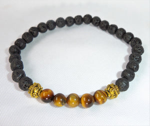 Lava Stone and Gold Tiger Eye Stone of Confidence Courage Crystal Beads Bracelet BRAC10101