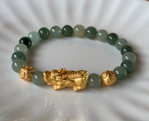 A Grade Mint Green Jadeite Jade Gold Pixiu Dragon Men Women Bead Bracelet