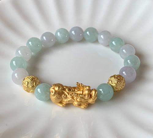 A Grade Mint Green Lavender White Jadeite Jade Gold Pixiu Dragon Men Women Bead Bracelet