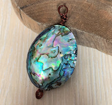 Rainbow Paua Abalone Shell Cabochon Gemstone Crystal Wire Wrap Copper Pendant ABSP10101