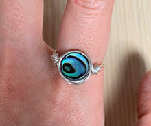Rainbow Paua Abalone Shell Cabochon Gemstone Crystal Wire Wrap Silver Ring Jewelry - Double Side Adjustable