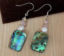 Rainbow Paua Abalone Shell and Baroque Pearl and Swarovski Crystal Gemstone Crystal Silver Earrings