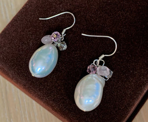 Large Shiny White Baroque and Pearl Swarovski Crystals Sterling Silver Earrings