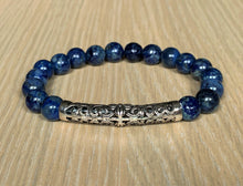 Lapis Lazuli with Tibetan Style Sterling Silver Crystal Stone Elastic Bead Bracelet Unisex Various Sizes