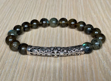 Rainbow Labradorite with Tibetan Style Sterling Silver Crystal Stone Elastic Bead Bracelet Unisex Various Sizes