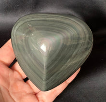 Big Rainbow Obsidian Heart Crystal Stone Palm Stone - OB10253