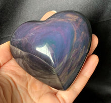 Big Rainbow Green Obsidian Heart Crystal Stone Palm Stone - OB10259