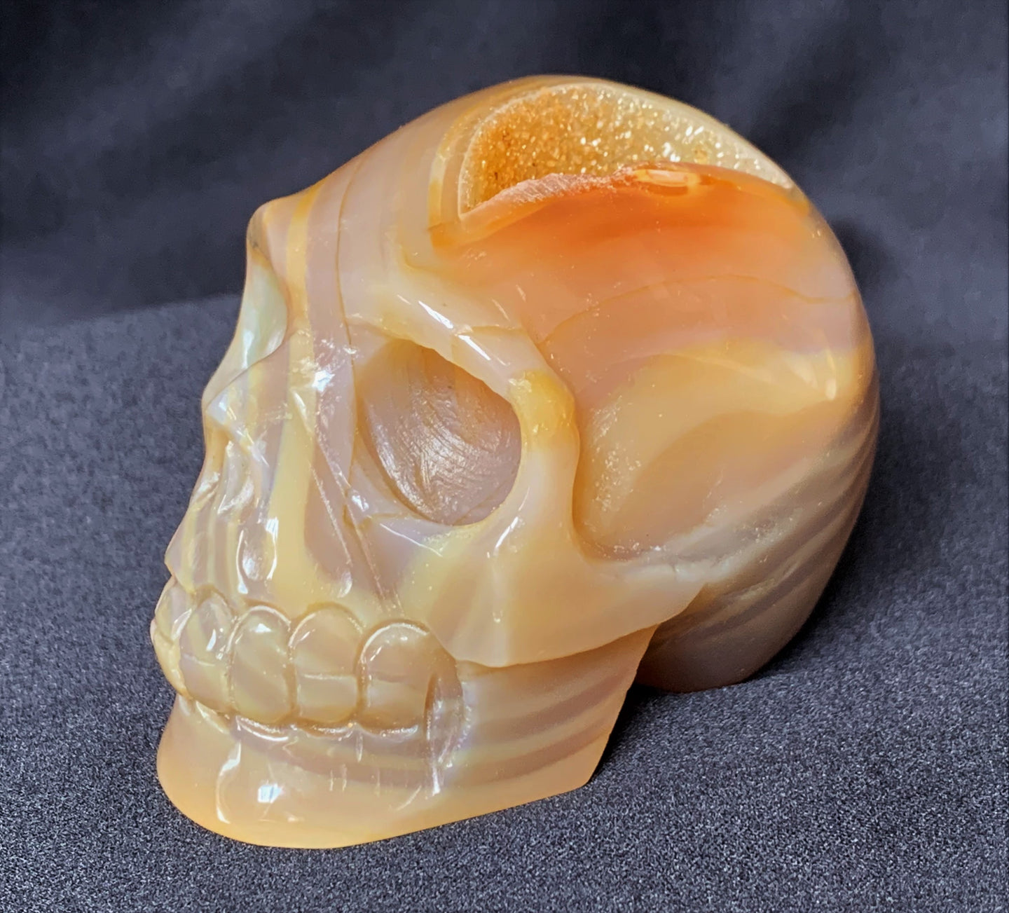 Orange Lace Agate Quartz Geode Hand Carved Realistic Crystal Human Skull Sculpture AG10201